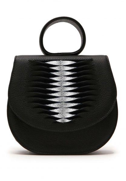 Gretchen - Ebony Mini Loop Bag Ray - Piano Black Silver