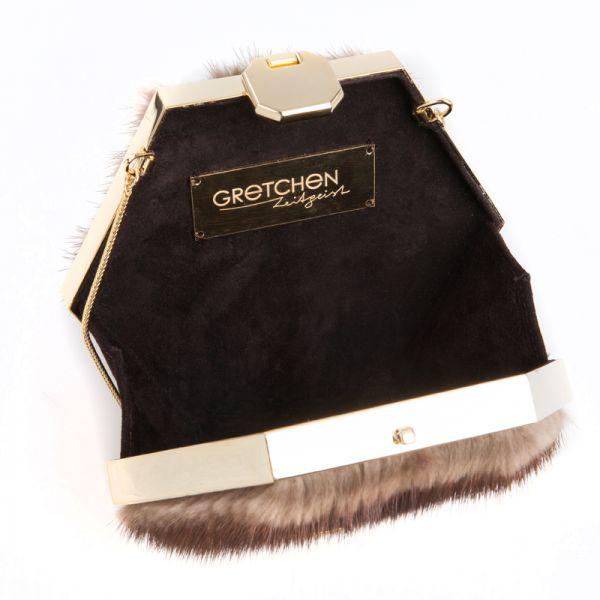 Gretchen - Zeitgeist Gold Hexagon Clutch - Brown Mink