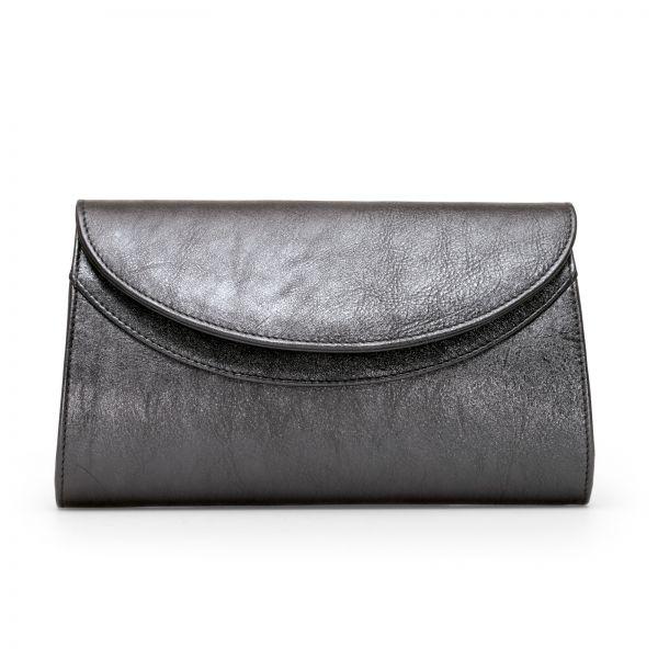 Gretchen - Ebony Clutch - Sparkling Silver