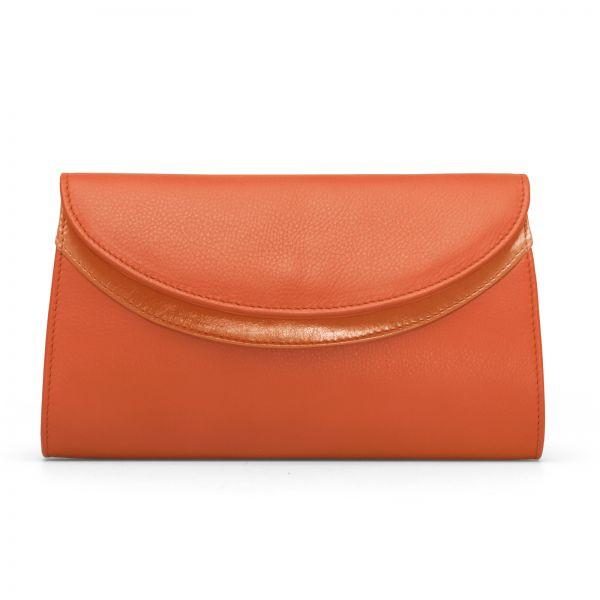Gretchen - Ebony Clutch - Pumpkin Orange
