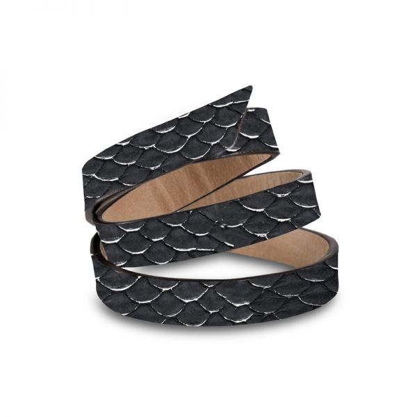 Gretchen - Triple Bracelet - Silver Black Tilapia