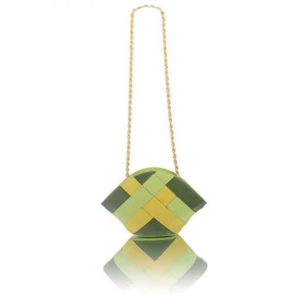 Gretchen - Swing Clutch - Green Tri-color