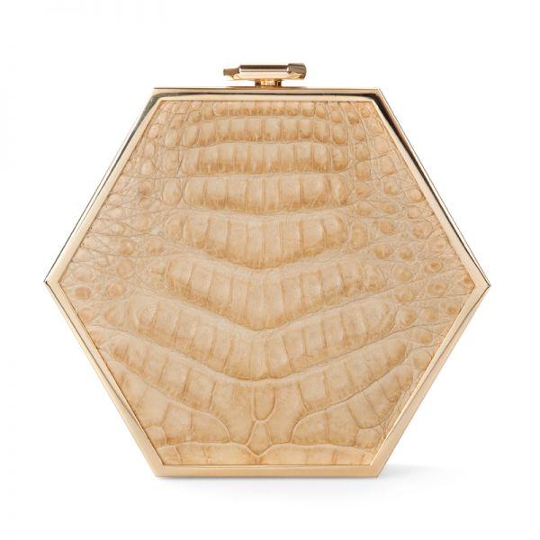 Gretchen - Zeitgeist Gold Hexagon Clutch - Cream Crocodile
