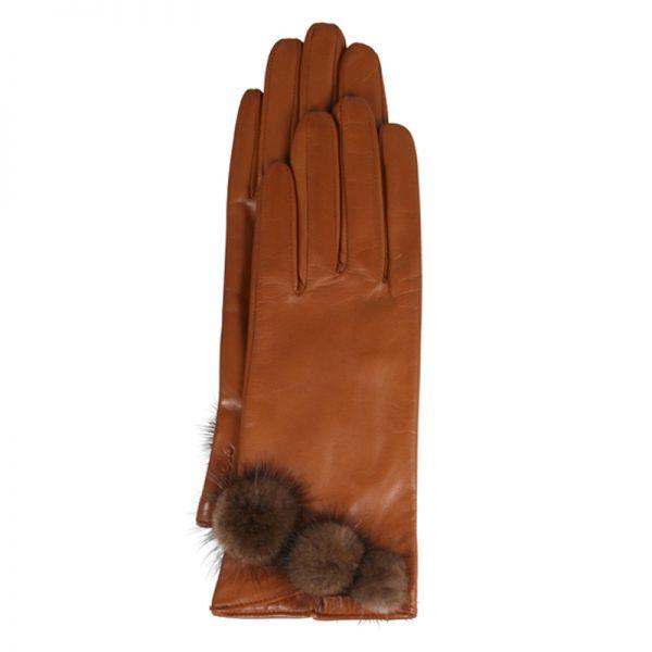 Gretchen - Glove GLF4 - Cognac Nappa - Chocolate Mink